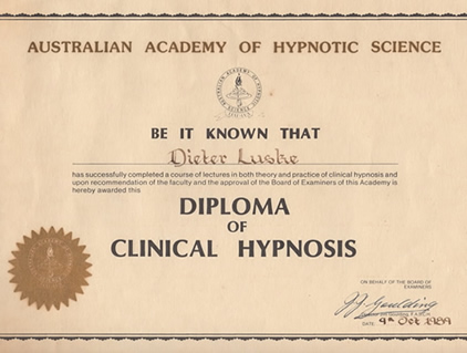 Australia Academy of Hypnotic Science Diploma Picture